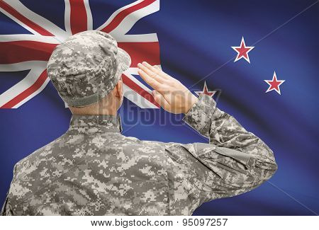 Soldier In Hat Facing National Flag Series - New Zealand