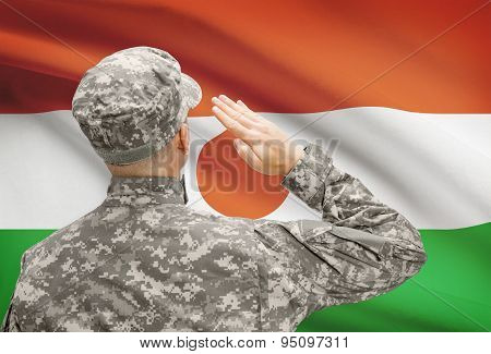 Soldier In Hat Facing National Flag Series - Niger