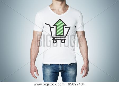 Close-up Of A Man In A White T-shirt With A Sketch Of The Green Arrow And The Basket. A Concept Of T
