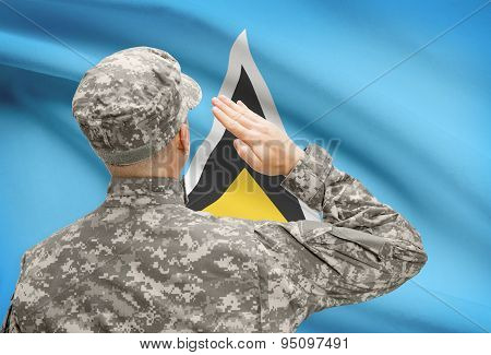 Soldier In Hat Facing National Flag Series - Saint Lucia
