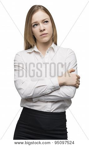 Side View Of A Thoughtful Woman With Crossed Hands. Isolated On White Background.