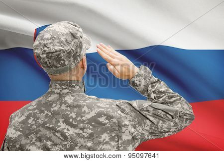 Soldier In Hat Facing National Flag Series - Slovenia
