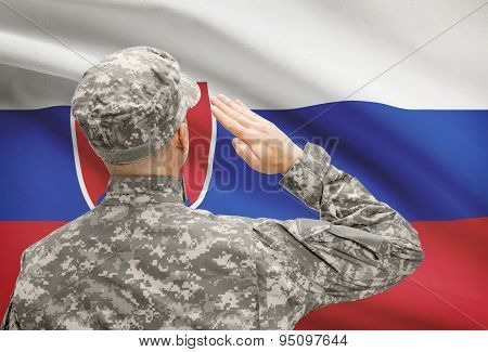 Soldier In Hat Facing National Flag Series - Slovakia