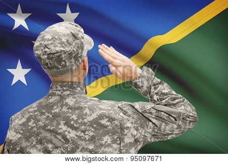 Soldier In Hat Facing National Flag Series - Solomon Islands