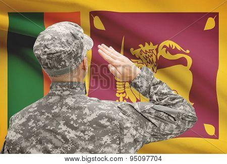 Soldier In Hat Facing National Flag Series - Sri Lanka
