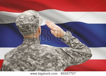 Soldier In Hat Facing National Flag Series - Thailand