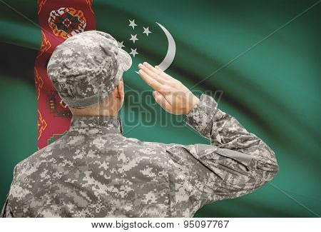 Soldier In Hat Facing National Flag Series - Turkmenistan