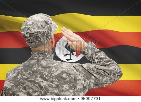 Soldier In Hat Facing National Flag Series - Uganda