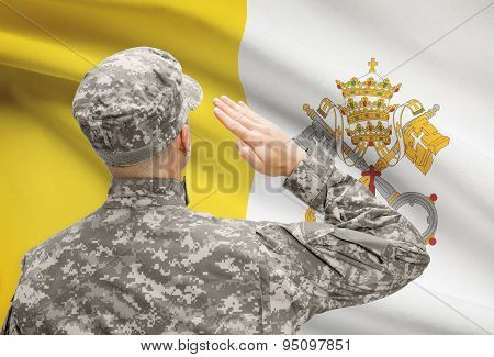 Soldier In Hat Facing National Flag Series - Vatican City