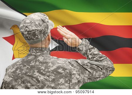 Soldier In Hat Facing National Flag Series - Zimbabwe