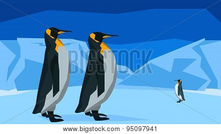 Penguins at the South Pole, seamless, animal, nature