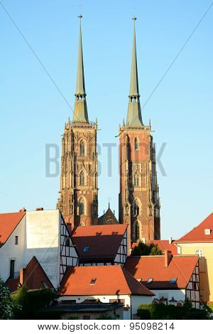 St John The Baptist Cathedral Towers In Wroclaw, Poland