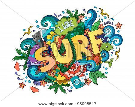 Surf  lettering design, hand-drawn t-shirt typographic  surfing print, bright surfboard illustration