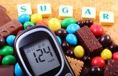 Постер, плакат: Glucometer Sweets And Cane Brown Sugar With Word Sugar Unhealthy Food
