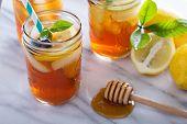 picture of mason  - Homemade honey iced tea in mason jars with straws - JPG