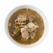 pic of thai cuisine  - Thai Cuisine and Food Top View of Delicious Thai Clear Spicy Hot and Sour Soup with Beef Entrails Isolated on White Background - JPG