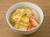 picture of scallion  - Thai Cuisine and Food Delicious Thai Omelet Soup with Tomatoes and Chopped Scallion - JPG
