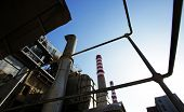 stock photo of thermal  - Thermal power station against the clean blue sky - JPG
