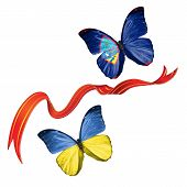 foto of guam  - Two butterflies fluttering with flags of Ukraine and the Guam - JPG