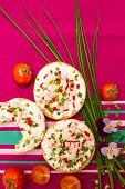 foto of vegetarian meal  - Vegetarian meal with crispy buns cottage cheese and vegetables - JPG