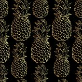 Постер, плакат: Exotic seamless pattern with silhouettes tropical fruit pineapples