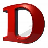 picture of letter d  - Letter D in red over white background with shadow 3d render - JPG