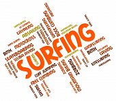 pic of watersports  - Surfing Word Represents Surfer Watersports And Beach - JPG