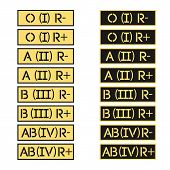 picture of breastplate  - Vector set of army stripes with the sign of the blood groups of the International classification - JPG