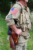 image of sub-machine-gun  - American soldier with submachine gun second world war style - JPG