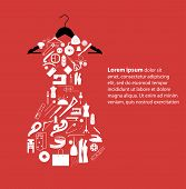 image of ripper  - Illustration of white dress on black hanger on red background - JPG