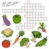 image of leek  - Vector crossword game for children about vegetables  - JPG