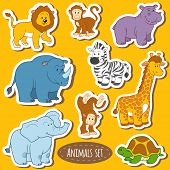Постер, плакат: Set of various cute animals vector stickers of safari animals