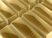 picture of gold nugget  - 3d gold bars close up of bank or business - JPG