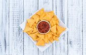 stock photo of nachos  - Nachos with Salsa Sauce  - JPG