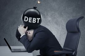 stock photo of fail job  - Concept of business debt deadline - JPG