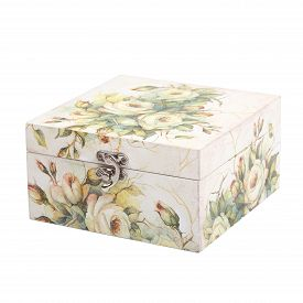 foto of decoupage  - floral pattern box decorated with decoupage paper handmade - JPG