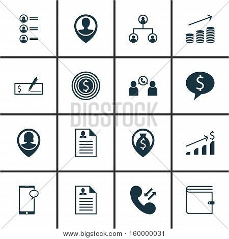 Set Of 16 Hr Icons. Can Be Used For Web, Mobile, UI And Infographic Design. Includes Elements Such As Discussion, Purse, Bank And More.