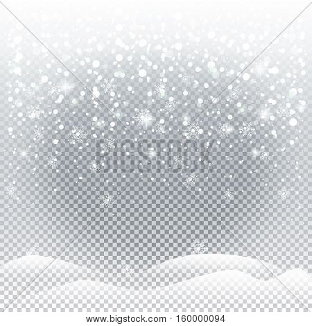 Christmas snow, snowfall background. Abstract winter background with falling snowflakes. Illustration