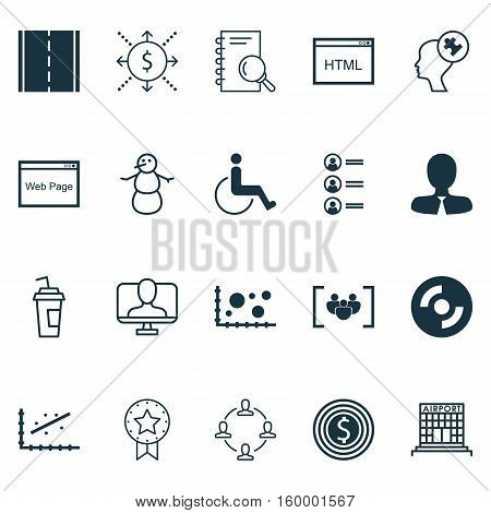 Set Of 20 Universal Editable Icons. Can Be Used For Web, Mobile And App Design. Includes Elements Such As Analytics, Questionnaire, Drink Cup And More.