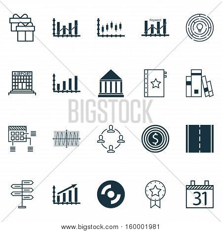 Set Of 20 Universal Editable Icons. Can Be Used For Web, Mobile And App Design. Includes Elements Such As Present, Profit Graph, Raise Diagram And More.