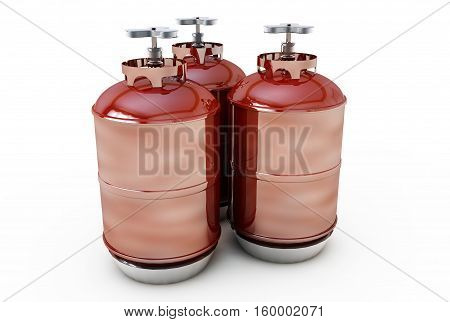 Fuel industry manufacturing concept: 3D render of the group of red metal steel liquefied compressed natural propane gas LNG or LPG containers or cylinders with high pressure gauge meters and valves
