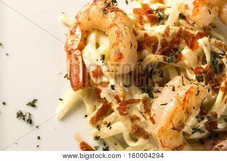 Pasta With Shrimps Served Thyme And Cheese