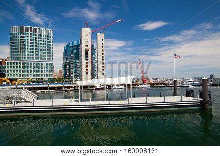 BOSTON,MASSACHUSETTSUSA - JULY 15,2016: New construction luxury condos on Fan Pier in Boston.