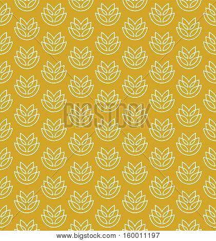 Wheat ears seamless pattern. Stylized elegant linear ears white on yellow color.
