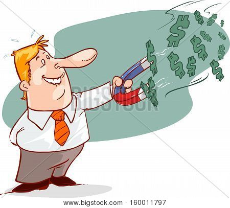 businessman with horseshoe magnet collecting money eps10 vector format