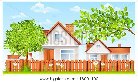 Small House With Fence And Garden