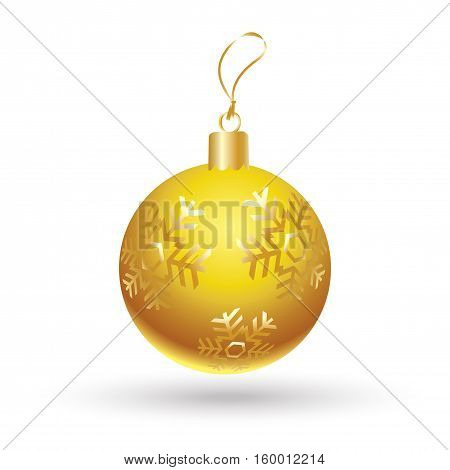 Christmas ball yellow color decorated with gold snowflakes isolated on white background. Illustration for Merry Christmas and New Year Holiday greeting card.