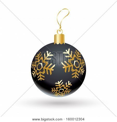 Christmas ball black color decorated with gold snowflakes isolated on white background. Illustration for Merry Christmas and New Year Holiday greeting card.