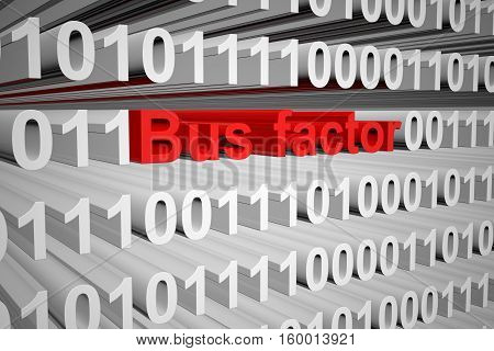 Bus factor in the form of binary code, 3D illustration