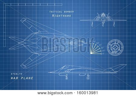 Drawing of military aircraft. Top side front views. War plane. Aviation document. Vector illustration